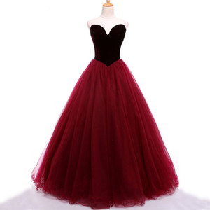 kleidkleid großhandel-Atemberaubende Prom Dressess Dark Red Burgund Velvet Prom Dress Schatz Sleeveless Zipper up Tüll Abendkleider Party Wear