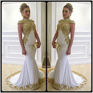 Wholesale Luxury Long Mermaid Plus Size Evening Dresses With Gold Lace Appliques High Neckline Cap Sleeves Women Formal Dress Gowns