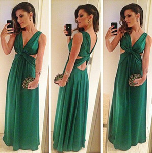 Wholesale 2017 New Hunter Green Sheath Evening Dresses Deep V Neck Criss-cross Sexy Back Cutaway Sides Floor Length Prom Dresses Cheap Under 100