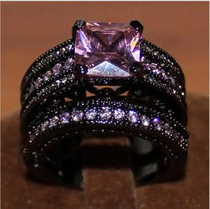 Wholesale pink rings resale online - Women s Black Gold Plated Square Pink Sapphire Stone CZ Wedding Ring Set