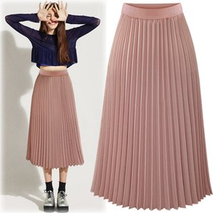 Pink Pleated Skirts Womens High Waist Summer Long Skirt Black White Chiffon Elegant Office Saia Longa Faldas Largas