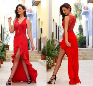 2019 Hot Red Prom Dresses Sexy V Neck High Low Tulle Lace Appliques Ruffles Sheer Back Dresses Formal Party Prom Dresses Evening Wear on Sale