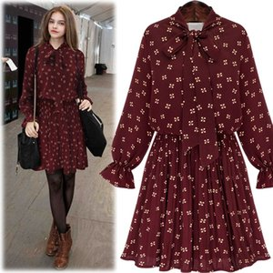Wholesale Spring Casual Women Dresses Chiffon Bow Dress Large Size Flare Sleeve Bow Collar Pleated Dress Female