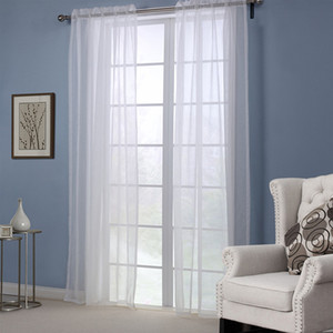 Wholesale white curtains for sale - Group buy White Color Sheer Curtains Doris Cloth High Thread Window Curtains Panel Set inch rod pocket Flowy Design Luxurious