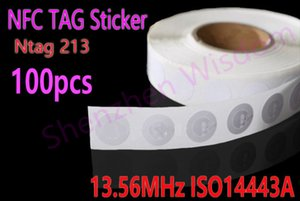 Wholesale Wholesale-Free Shipping 100pcs Lot NFC TAG Sticker 13.56MHz ISO14443A NTAG 213 NFC tag Universal Lable for all NFC enabled phones