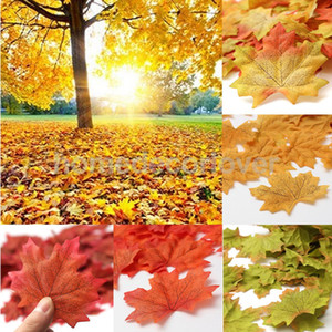 Wholesale New set Artificial Cloth Maple Leaves Multicolor Autumn Fall Leaf For Art Scrapbooking Wedding Bedroom Wall Party Decor Craft