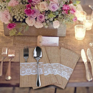 Wholesale High quality Burlap Cutlery Holder Chic Lace Tableware Pouch Packaging Fork Knife Pocket Home Textiles IC638