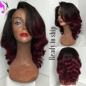Wholesale Red Wig Wavy Two Tone Dark Roots ombre Synthetic Lace Front Wig Heat Resistant Long Red Anime Wig Cosplay Wigs