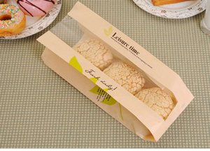 Wholesale 23 x12x5cm Baking Packaging Donut Leisure Food bread bags with window Cookie cake Toast Bag Brown White Package for Bakery