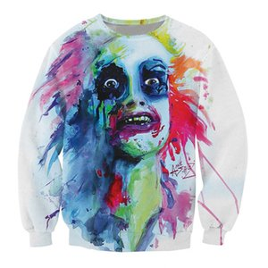 Wholesale Colorful Painted Frightened Face D Printing Hoodies Men Unisex Hip Hop Hoodie Sweatshirt Fashion Men Sportswear Casual Pullover