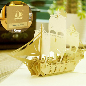 Wholesale Vintage quot Sailing Boat quot Laser Cut Kirigami Origami D Pop UP Greeting Cards For Birthday Gift Presents Folded Cards ZA5141