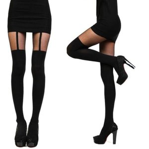 Wholesale Fashion Women Girls Temptation Sheer Mock Suspender Tights Pantyhose New Arrival