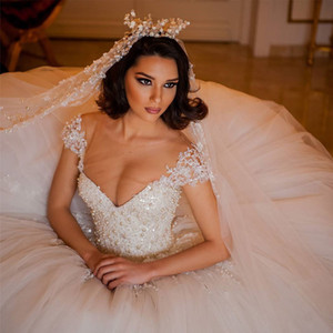 Tulle Ball Gown Wedding Dress Princess Pearls Beads Wedding Dresses Ball Gowns Sheer Tulle Jewel Neck Lace Appliques Puffy Wedding Gown