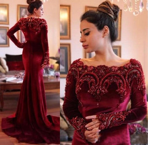 Wholesale Burgundy Velvet Evening Dresses Sexy Mermaid With Long Sleeves Peals Beaded Arabic Prom Dresses Party Gown vestidos festa With Sweep Train