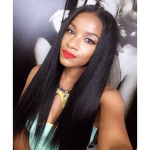 Wholesale 9A Mongolian Light Yaki Stright Human Hair Lace Wigs With Baby Hair Light Yaki Glueless Full Lace Human Hair Wigs For African Americans