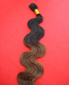 Wholesale-New T1b 8 Ombre Braiding Hair Wavy 100g Black and Brown Two Tone Braiding Hair 7A Brazilian Body Wave Human Braiding Hair Bulk