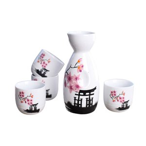 Wholesale Japanese Sake Set Hand Painted Kiyomizu Temple and Cherry Blossom Ceramic Wine Bottle Cups Elegant Sake Drinkware Oriental Gifts