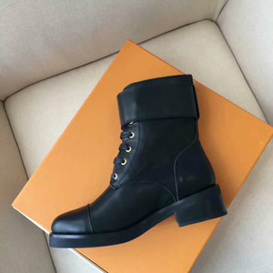 Fashion leather boots women Rivet flat leather Lace casual boots letters metal buckle female boots round head retro square motorcycle shoes on Sale
