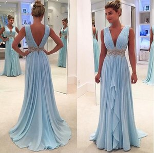 Wholesale Custom Made Deep V Neck Prom Dresses A Line Chiffon Ruffles Skirts Long Backless With Crystal Sash Formal Evening Gowns