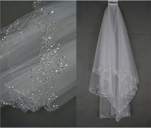 Wholesale In Stock White Ivory Bridal Wedding Veil Layer Tulle Perfect Handmade Sequins Beaded Edge Hair Accessories Bridal Veils With Comb