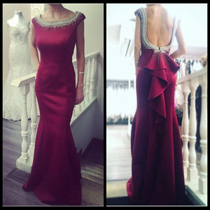 2017 Wine Red Elegant Evening Dress Long Mermaid Party Gown Sexy Backless With Bow Beaded Cap Sleeve 2016 on Sale