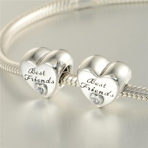 Wholesale 5 Best friends charms beads S925 sterling silver fits pandora style bracelets FRIENDSHIP HEART CHARM CZ H9