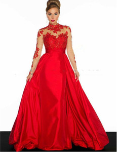 A Line Evening Dresses Red Latest Design Long Formal Gowns robe de soiree Custom Made Full Sleeve E036 Transparent Vintage on Sale