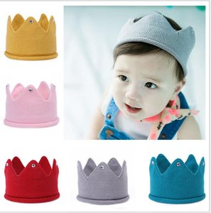 Wholesale Baby Knit Crown Tiara Kids Infant Crochet Headband Cap Hat Birthday Party Photography Props Beanie Bonnet Winter Keep Warm