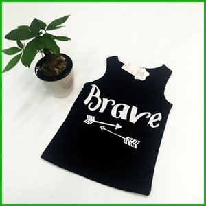 Wholesale sleeveless girls tops vest brave letters print fashion children black t shirts summer kids casual outfits fast