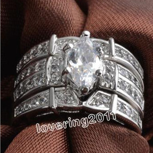 Wholesale white gold marquise settings resale online - Size Fashion jewelry Nice Lover Marquise Cut Topaz KT White Gold Filled GF rings Wedding Band Ring Set for love g