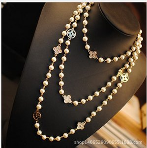 Wholesale Fashion Women Golden Chain Four Leaf Clover Necklace Jewelry Women Elegant Beaded Pearl Design long sweater chain necklaces strands strings