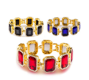 Wholesale ruby blue resale online - Hot Mens Iced Out Black Red Blue Gold Finish Bracelet Red Ruby Hip Hop Rick Ross inch Women Men Jewelry Gift