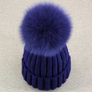 Wholesale-Real Fox Fur Pom Pom Women Beanie Hat  Hat With Pompom Ball Real Raccoon Fur Pompon Knit Bobble Hat Couple Ski Cap