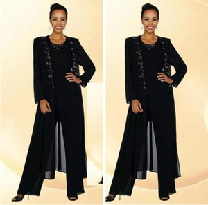 Wholesale 2018 Elegent Chiffon Mother Of The Bride Pant Suits Beaded Collar Long Sleeve Crew Black Women Dress Evening Dresses