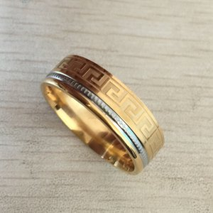 Wholesale Luxury large wide 8mm 316 Titanium Steel 18K yellow gold plated greek key wedding band ring men women silver gold 2 tone