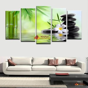 Wholesale HD Canvas Prints Piece Bamboo Stone Scenery Modern Home Wall Decor Canvas Picture Art HD Print Painting On Canvas For Home Decor