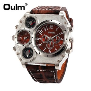 Oulm 1349 Men's Dual Movement Sports military Watch with Compass & Thermometer decoration black dial big size 5.8cm diameter Relogio on Sale