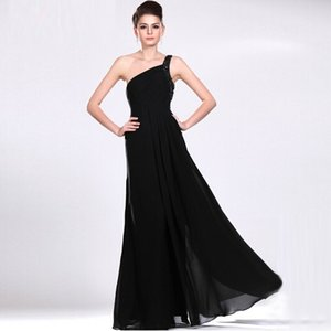 Wholesale Simple Design One Shoulder Black Chiffon Evening Dress With Crystals Vintage Style Young Ladies Good Quality Dress Party