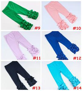 Baby Girls Cotton Ruffle Leggings Kids solid color delicate ruffle pants aqua black white Multi-Layer leggings 14colors  6size for choose