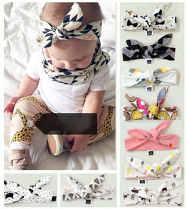Wholesale 9 Colors New INS Children Knitting Bow Tie Bandanas Girl Baby Cotton Headbands Hair Accessories