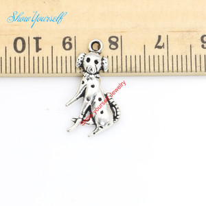 Wholesale 20pcs Antique Silver Plated Dog Charms Pendants for Necklace Jewelry Making DIY Handmade Craft x12mm