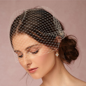 Wholesale Elegant Short Bridal Veils Face Covers Bridal Fascinator Birdcage Veil With Metal Mini CombCut Edge quot W Champagne White Black colors