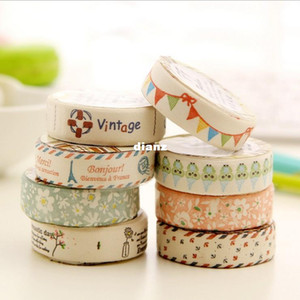 DIY Kawaii Fabric Cloth Masking Tape Sweet Vintage Eiffel Tower Flower Decorative Tapes for Home Decoration