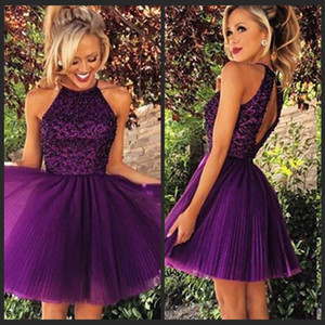 Wholesale 2016 Short Purple Tulle Homecoming Dresses for Summer 8th Grade Dance Back to School Sweet Sixteen Graduation Teens Beaded Ball Prom Gowns
