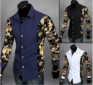 Wholesale Print Floral Shirt Casual Men Part Print Floral Pattern Design Turn Down Collar Long Sleeve Patchwork Men Dress Shirt