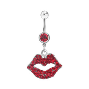 D0047 ( 1 color ) lip style piercing body jewelry , red color Belly Button Ring , Fixing BELLY BAR(10PCS LOT) JFC-1216