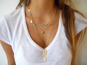 Wholesale 10Pcs Summer Style Jewelry Fashion Women s Multi Layered Necklace Feather Round Sequins Charm Pendant Turquoise Necklace Gold Silver