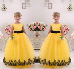 Wholesale 2016 Yellow Lace Ball Gown Tulle Flower Girl Dresses Vintage Child Pageant Dresses Beautiful Flower Girl Wedding Dresses