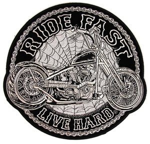 Wholesale spider motorcycle resale online - Ride Fast Live Hard Motorcycle Spider Webs Large Back Patch Motorcycle Biker Club MC Front Jacket Vest Patch Detailed Embroidery