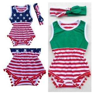 2017 Baby Girls Christmas Summer 4thof July romper+Headbands 2 Piece Sets Kids Clothing Baby Girl fourth of july outfits